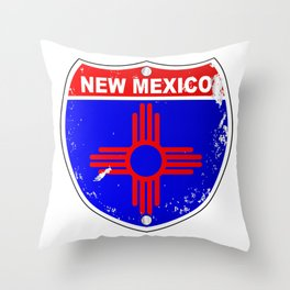 New Mexico Flag Icons As Interstate Sign Throw Pillow