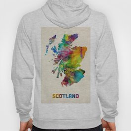 Scotland Watercolor Map Hoody