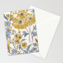 Yellow and Gray Floral Stationery Cards