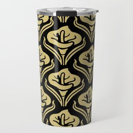 Calla Lily Pattern Black and Gold Travel Mug