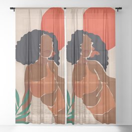 Red Sun Sheer Curtain