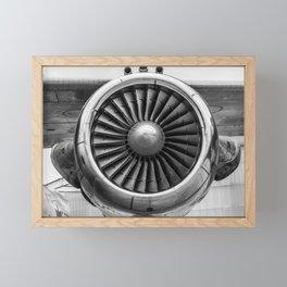 Vintage Airplane Turbine Engine Black and White Photography / black and white photographs Framed Mini Art Print
