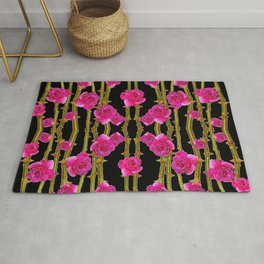 "FUCHSIA PINK ""ROSES & THORNS""  BLACK ART PATTERNS Rug"