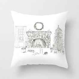 Cozy Christmas Ink Drawing Scene With Cavalier King Charles Throw Pillow