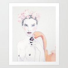 Molly & Flamingo Art Print