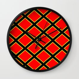 red cross-abstraction,abstract,geometric,geometrical,pattern,cross,order Wall Clock