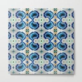 Stone pattern (Blue&Gold) Metal Print