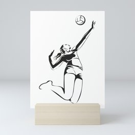 Beach volleyball player Mini Art Print
