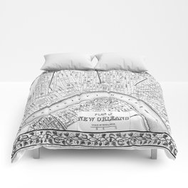 Vintage Map of New Orleans (1880) BW Comforters