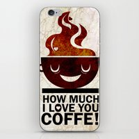 coffe iPhone & iPod Skins featuring Coffe, love coffe by Nayade Limnatide