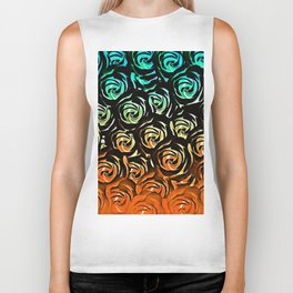 rose pattern texture abstract background in blue green orange Biker Tank