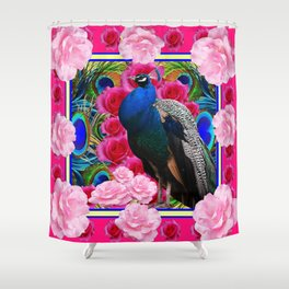 FUCHSIA  BLUE PEACOCK &  PINK ROSE GARDEN Shower Curtain