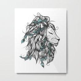 Poetic Lion Turquoise Metal Print