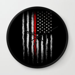 USA red line flag Wall Clock