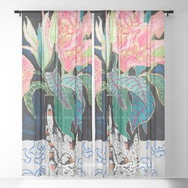 Swan Vase with Pink Lily Flower Bouquet on Dark Blue and Black Winter Floral Sheer Curtain