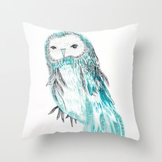 Blue Owl Throw Pillow