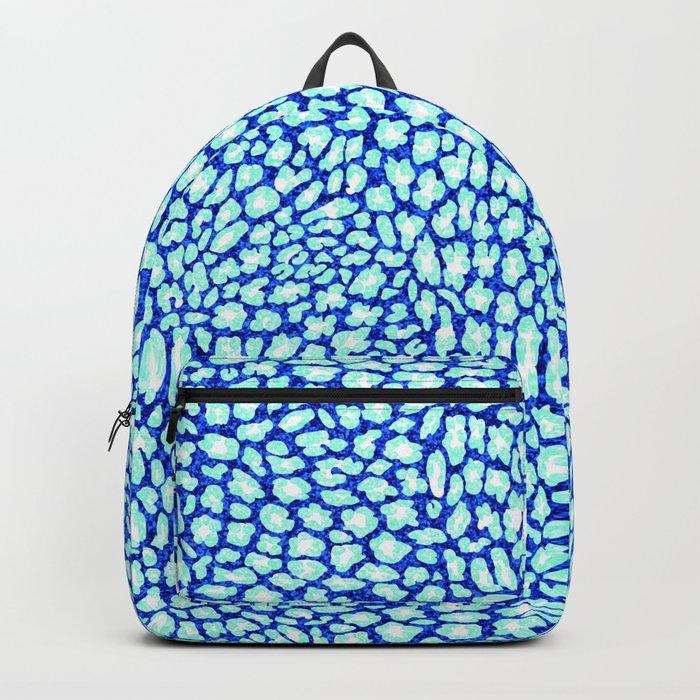 Blue Glitter Leopard Print Backpack