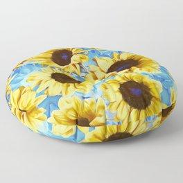 Dreamy Sunflowers on Blue Floor Pillow