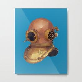 Retro Diver Helmet Polygon Art Metal Print