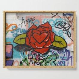 rose/heart graffitti Serving Tray