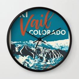 Ski Vail Colorado, vintage poster Wall Clock