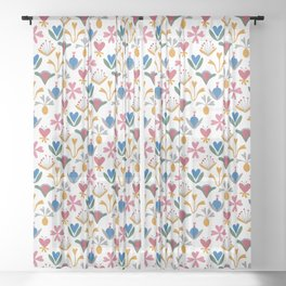 Fantasy Flowers – Blue Bell – Scandinavian Folk Art Sheer Curtain