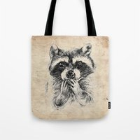 rocket raccoon Tote Bags featuring Surprised raccoon by Anna Shell