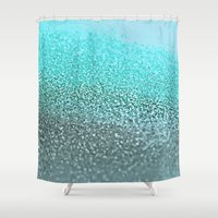 teal Shower Curtains featuring TEAL  by Monika Strigel