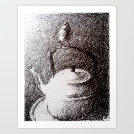 Worth Two in the Bush: Ballpoint Pen Scribble Drawing Art Print