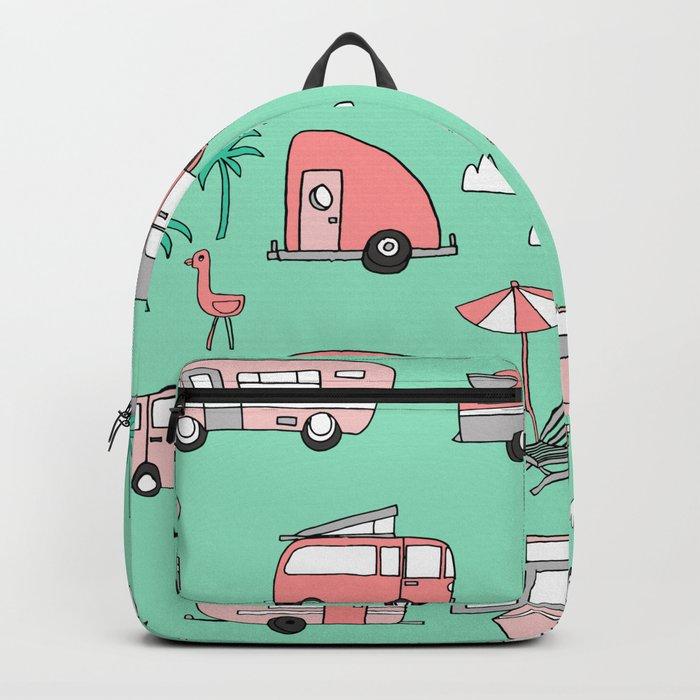 Camper summer vacation tropical pattern RV van life print by andrea lauren Backpack