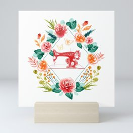 Flowers Floral Aquarel Sewing Machine Seamstress Mini Art Print