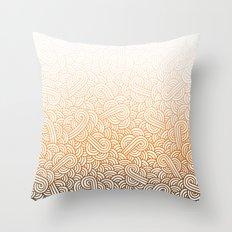 Gradient orange and white swirls doodles Throw Pillow