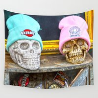 hats Wall Tapestries featuring Skulls and Hats  by Premium