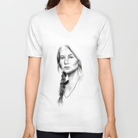 katniss V-neck T-shirts featuring Katniss Everdeen by Cécile Pellerin