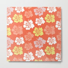 Hibiscus flower silhouettes. Yellow, coral and white Hawaiian hibiscus flowers on an orange background. Vintage distressed look. Metal Print