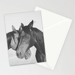 Horse Hug in Black and White Stationery Cards