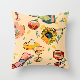 COCKTAILS IN THE GARDEN Throw Pillow