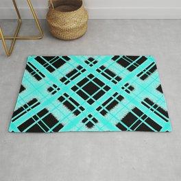 Turquoise on Black Plaid Digital Chalk Pattern Rug