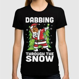 Jack Russell Terrier Dabbing Through The Snow Christmas T-shirt
