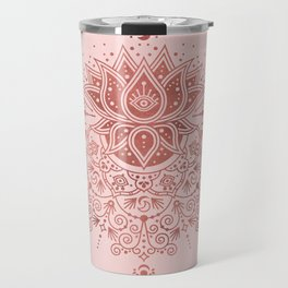 Sacred Lotus Mandala – Rose Gold & Blush Palette Travel Mug