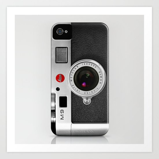 classic retro Black silver Leather vintage camera iPhone 4 4s 5 5c, ipod, ipad case Art Print