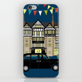 Art Print of Liberty of London Store - Night with Black Cab iPhone Skin