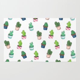 Cacti Abound Watercolor Graphic Print Rug