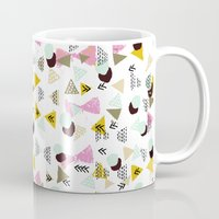 mid century modern Mugs featuring Ralea - abstract design triangle geometric circle print texture dots mid century modern graphic  by CharlotteWinter