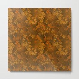 Floral yellow orange satin pattern . Metal Print
