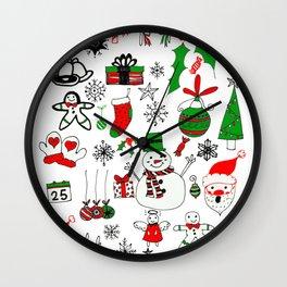 Happy Christmas Doodles Wall Clock