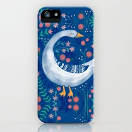 Whimsical Spring Goose & Flowers iPhone Case