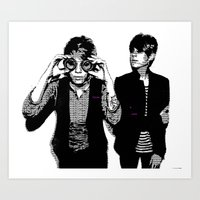 tegan and sara Art Prints featuring Tegan & Tegan & Sara & Sara - Black by c.beanan
