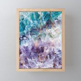 Turquoise & Purple Quartz Crystal Framed Mini Art Print
