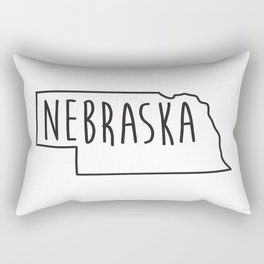 Nebraska Type Map Rectangular Pillow